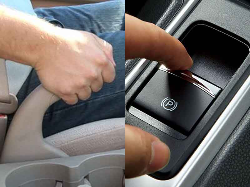 Phanh tay ô tô gồm có 2 kiểu gồm: phanh tay điện tử và phanh tay cơ.