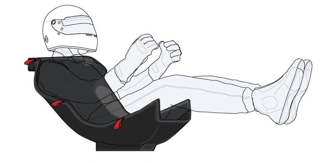 Hình ảnh mô phỏng tay đua ngồi vào ghế xe đua F1