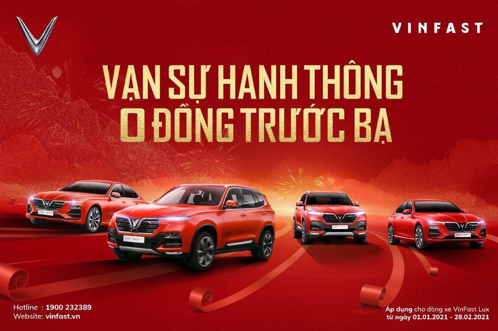 """VinFast - Hãng xe duy nhất gia hạn """"Trước bạ 0 đồng"""", hỗ trợ 100% lệ phí trước bạ cho các khách hàng hoàn tất thủ tục mua xe Lux đến hết ngày 28/2/2021"""