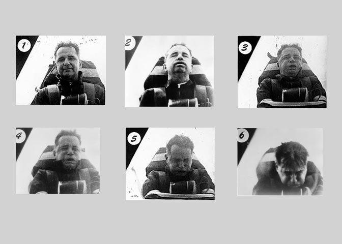 6 trạng thái mà john Stapp đã trải qua, cảm giác chóng mặt, buồn nôn, suy hô hấp,...