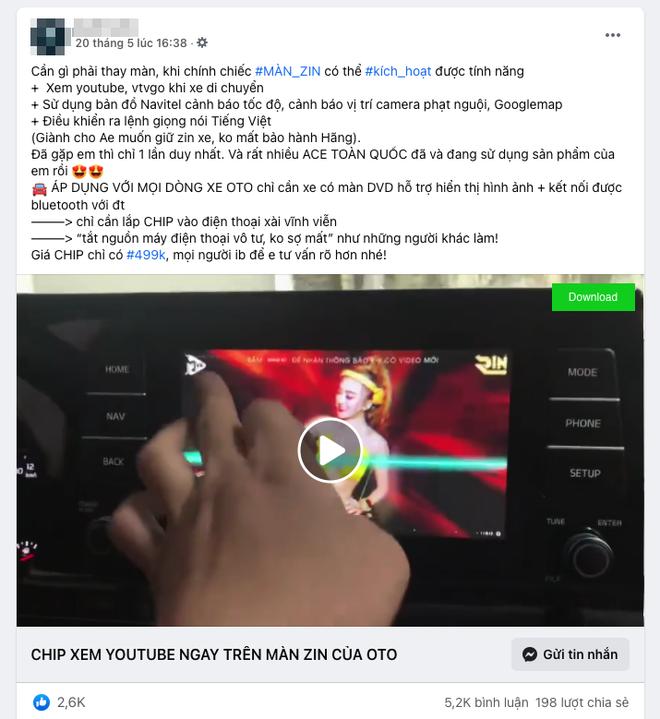 """Bài quảng cáo lừa đảo về chip xem được video trên màn zin ô tô với lượng tương tác """"khủng"""""""