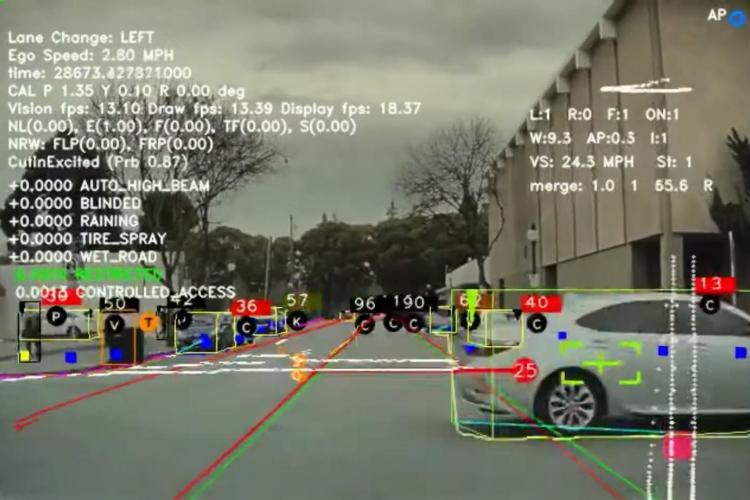 Hình ảnh mô phỏng góc nhìn của hệ thống Autopilot