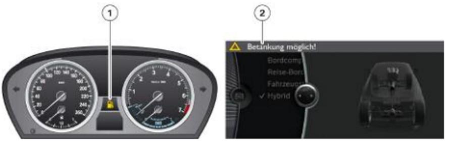 Màn hình hiển thị của bình nhiên liệu.